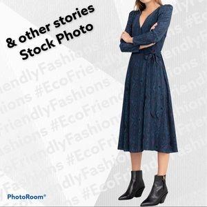 & OTHER STORIES Wood Jacquard Midi Wrap Dress